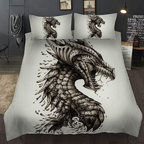 BBUY Ropa de cama infantil de dinosaurio, 135 x 200 cm, Jurassic World Junge, Charizard volador Dragón Tyrannosaurus patrón, funda nórdica con funda de almohada (blanco y gris, 200 x 200 cm)