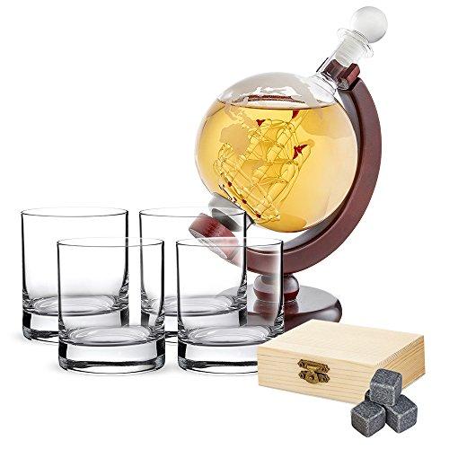 AMAVEL Whiskyset Glaskaraffe Globus Segelschiff, Mit luftdichtem Verschluss, 4 Whiskygläsern und 9-teiligem Whiskysteine Set