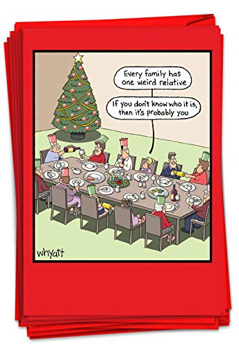 NobleWorks - 12 Funny Cartoon Cards for Christmas - Holiday Humor, Boxed Stationery Notecard Set (1 Design, 12 Cards) - Weird Relative B1703