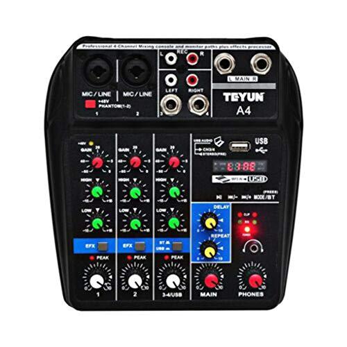 Kongnijiwa Profession mélange Port USB Console amplifiée Table de mixage Mini Audio, mixage Audio Bluetooth 4 canaux scène Performance Live Action Audio Mixer