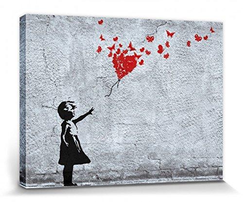 1art1 Mädchen - Mädchen Mit Luftballon Und Schmetterlingen, Banksy-Style Bilder Leinwand-Bild Auf Keilrahmen   XXL-Wandbild Poster Kunstdruck Als Leinwandbild 40 x 30 cm