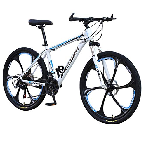 Mountain Bikes, 26 Inch Adult Steel Carbon Mountain Trail Bike 21 Speed Gears Dual Disc Brakes Lightweight Mountain Bicycle (Blue)