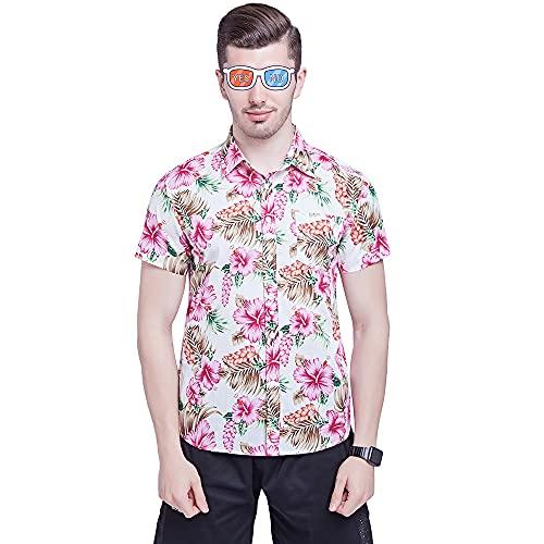 Camisa Hombre Regular Fit Manga Corta Hawaiano Estilo Camisa Hombre Vacaciones Playa De Arena Surf Casual Camisa Hombre Clásica con Botones Verano Transpirables Tops Hombre