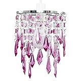 MiniSun – Paralume moderno, bello ed elegante con goccioline trasparenti e viola e di acrilico nello stile lampadario – per lampada a sospensione