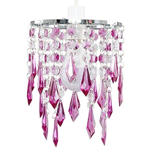 MiniSun – Eleganter 2-stufiger Lampenschirm mit lichtreflektierenden Juwelen aus lilafarbenem und transparentem Acryl im Kronleuchterstil – für Hänge-/Pendelleuchte