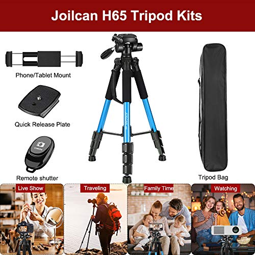 Joilcan 66-inch Lightweight Camera/Phone Tripod, Aluminum Travel Portable SLR Tripod with Mobile/Tablet Phone Mount and 2 Quick Plates-Blue