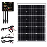 50 Watts Mono Crystalline 12V Off Grid Solar Panel Kit - Waterproof 50W Solar Panel + Photocell 10A Solar Charge Controller with...
