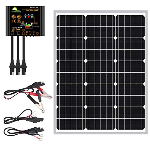 SUNER POWER 50 Watts Mono Crystalline 12V Solar Panel Kits - Waterproof 50W Solar Panel + Upgraded 10A Solar Charge Controller + 3-PCS SAE Cable Adapters for Car RV Marine Boat Trailer Off Grid System