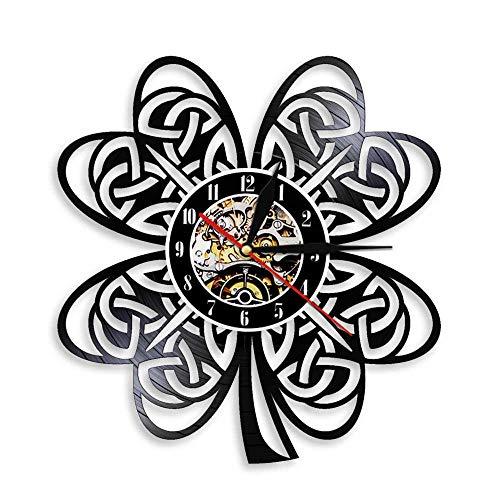 YANGSHUANG Handmade Vinilo Pared Reloj Trébol de Cuatro Hojas Reloj de Pared de Vinilo Reloj de Pared de Arte Creativo Hecho a Mano, Movimiento de Cuarzo silencioso, diámetro 30 cm