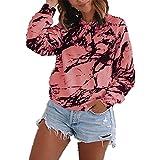 Elesoon Camisa de manga larga para mujer, estampado de mármol, estampado gráfico a rayas, cuello redondo, blusa suelta, A-rosa, 42