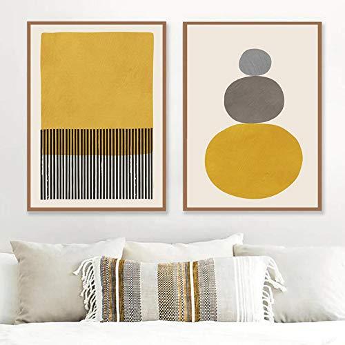 ThinkingPower Líneas Rayas Pintura Póster Minimalista Impresiones en Lienzo Colores Mostaza Pared Gris y Negra Sala de Estar Decoración artística 27.5