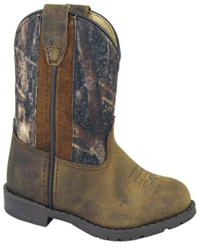 Smoky Children's Kid's Toddlers Camo and Brown Distress Western Cowboy Boot