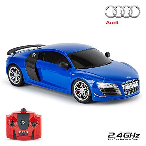 CMJ RC Cars ™ Audi R8 GT Offiziell Lizenziertes ferngesteuertes Auto im Maßstab 1:18 Arbeitsscheinwerfer 2,4 GHz Blau