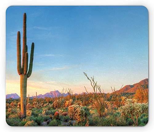 Saguaro Mouse Pad, Sonne geht unter in der Wüste Feigenkaktus Kaktus Südwest Texas National Park, Rechteck rutschfeste Gummi Mousepad, Orange Blau