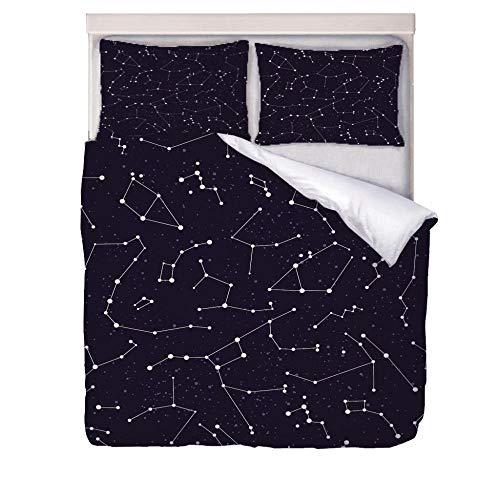 ZLQBed Juego de Funda de Edredón Patrón de constelación Funda Nórdica 3 Piezas Microfibra Juego de Ropa de Cama con 2 Fundas de Almohada,140 x 200 cm
