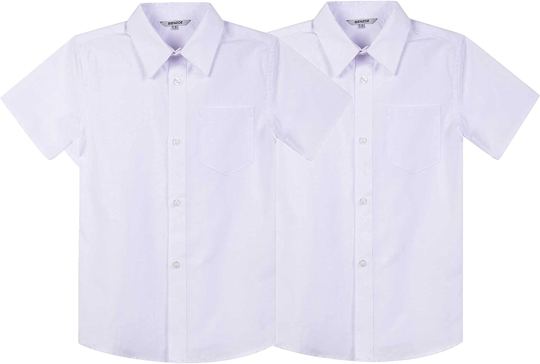 Bienzoe Boy's School Uniform Button Down Short Sleeve Oxford Shirt 2Pcs Pack