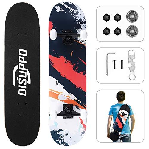 DISUPPO Cruiser Skateboard, Skateboard Completa para Principiantes, 7 Capas de Arce de Nivel A, Doble Patada cóncava estándar y patinetas de Trucos para niños Adolescentes
