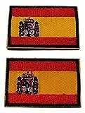 b2see Iron on Bügel Aufnäher Fahne Patches Flicken Aufbügler Bügelbild Applikation Sticker-Ei Flagge Spanien Madrid Set 2 STK jeweils 4,8 x 3 cm