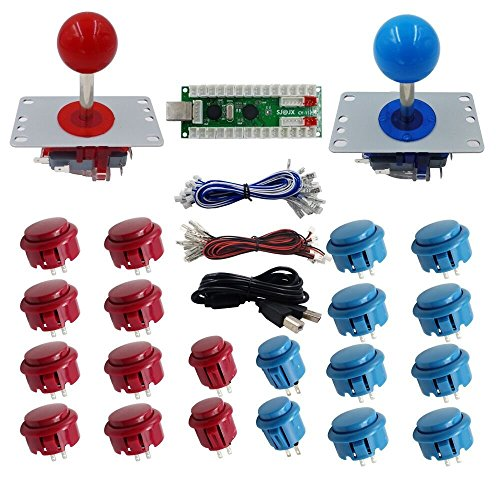 SJJX 2 Players DIY Arcade Game Button and Joysticks Controller Kits for Raspberry Pi and Windows,5 Pin Joysticks,red and Blue Each with 10 Buttons