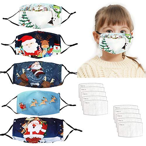 TEPNICAL 2020 Christmas Ma_sk -5 Pcs Kids XmasFaceMask Bandanas,Christmas Printed Face Protection,Breathable Dustproof Washable Windproof Balaclava Decorations Xmas Accessories for Outdoor Indoor