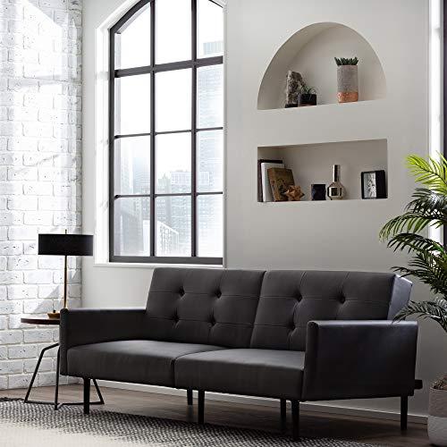 Edenbrook GilmanConvertible FoldingFuton Modern Square Arm Design-CompactCouch Bed, Standard - 74 Inches, Black Faux Leather