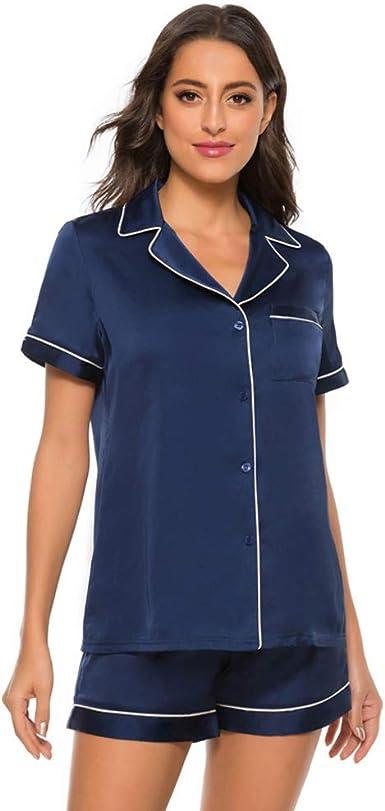Pijamas Mujer Sedoso Conjuntos de Pijamas Camisones Manga Larga Satén Conjuntos de Pijamas 2 Piezas Botones Camiseta y Elásticos Pantalones Ropa de ...
