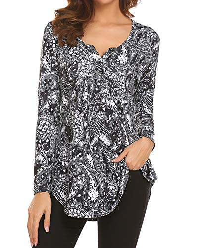 Womens Long Shirts to Wear with Leggings Ladies V-Neck Long Sleeve Paisley Floral Office Blouses Flared Casual Tunic Top Black,L