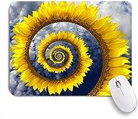 VAMIX マウスパッド 個性的 おしゃれ 柔軟 かわいい ゴム製裏面 ゲーミングマウスパッド PC ノートパソコン オフィス用 デスクマット 滑り止め 耐久性が良い おもしろいパターン (雲の下で創造的な花の渦巻き形状の大きなひまわり)