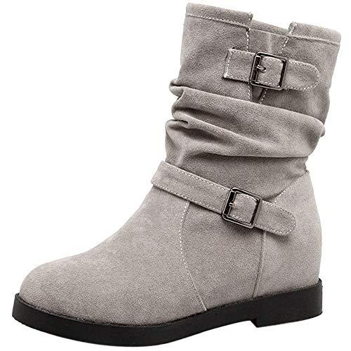 Mediffen Damen Interne Erhohen Slouch Stiefel Klassischer Keilabsatz Stiefel Grau-HM Gr 42 Asiatisch