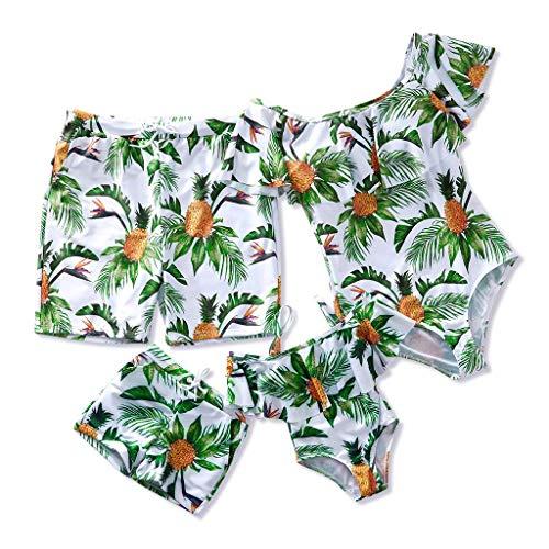 Yaffi Famiglia Costumi Da Bagno Costume Un Pezzo Ananas Stampato Volant Off Spalla Monokini Costume Da Bagno Verde L