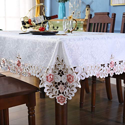 Pink Flower Embroidered Light Yellow Spring Floral Tablecloth Rectangular 60 x 86 inch Approx