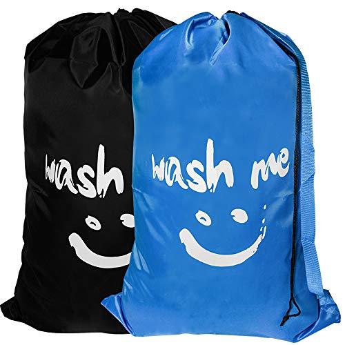 2er Set Große Reise Wäschesäcke mit Schultergurt, maschinenwaschbar, stabiler Rip-Stop, feines Nylonmaterial mit Kordelzugverschluss für Kinderlager/College (Schwarz und Blau)