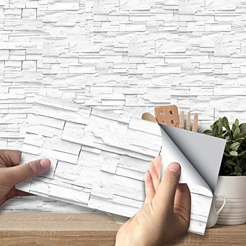 Exnemel Fliesenaufkleber, Selbstklebende wasserdichte Wandaufkleber Fliesensticker Aufkleber Vinyl DIY Fliesen Abziehbilder für Küche Wohnzimmer Badezimmer Wohnkultur
