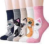 Chalier Süße Damen Socken 5 Paar, Mädchen Bunte Baumwolle Socken mit Lustiger Tiere Malerei MEHRWEG