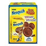 Nesquik Box Merenda Pronto da Bere, Bevanda a Base di Latte e Cacao Solubile con 3 Frollini Magretti Galbusera, 14 Box da 207 g