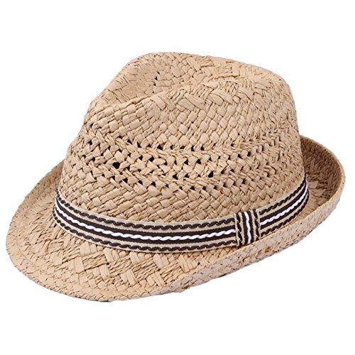 Hosaire 1 x Kinder Strohhut Baby Hat Jazz Hat Topper Sonnenhut Sonnencreme Stroh Strand Fischerhut Sommerhut Khaki