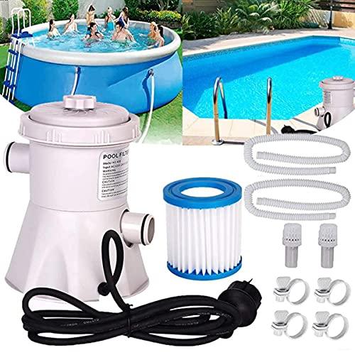 Depuradora de Filtro de Cartucho Bomba con Filtro de Piscina Bomba de Filtro de Piscina eléctrica para Herramienta de Limpieza de Piscinas sobre el Suelo, 220V,US Plug