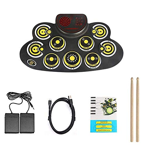 Batería electrónica, portátil conjunto de tambor eléctrico, plegable laminado pedal arriba electrónica Drum Set Pad con altavoz Principiante Adulto Niño Adolescente dos pies kyman