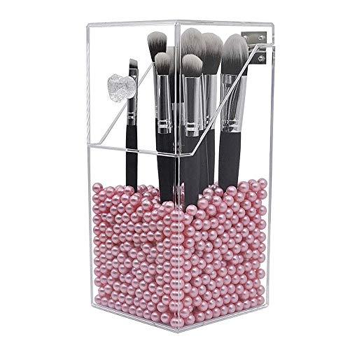 Dolovemk Organisateur de Porte-Pinceau de Maquillage,organisateurs en Acrylique et boîte antipoussière Storager,Organisateur de Maquillage en Acrylique avec Couvercle,avec Perle Rose