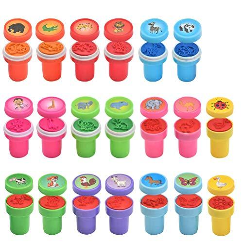 FOROREH Sellos de autoentintado para niños, sellos de niños, juegos de sellos de autoentintado, sellos de juguete de plástico lindo regalo para cumpleaños de niños