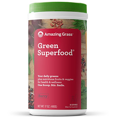 Amazing Grass Green Superfood: Super Greens Powder with Spirulina, Chlorella, Digestive Enzymes & Probiotics, Berry, 60 Servings