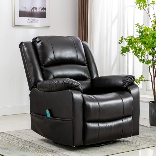 Oyerol Massage Recliner Chair with Leather Rocker Recliner with Heated Massage Ergonomic Lounge Chair 360 Degree Swivel Reclining Sofa for Living Room (Brown)