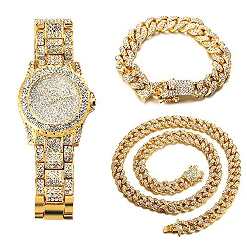 HALUKAKAH Diamante Reloj de Oro Hombres,Chapado en Oro Real de 18k Pulsera de Cuarzo 8.7'(22cm),con Cubana Pulsera 18cm + Collar 45cm,Cz Completo Diamante de Laboratorios,Gratis Caja de Regalo