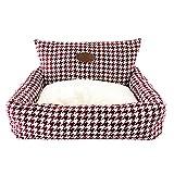 ZIEM Kennel Plaid Pet Cuddler Bed Colchón Arena para Gatos Cálida Cesta para Mascotas Suministros Cojín para Cachorros para Perros Gatos