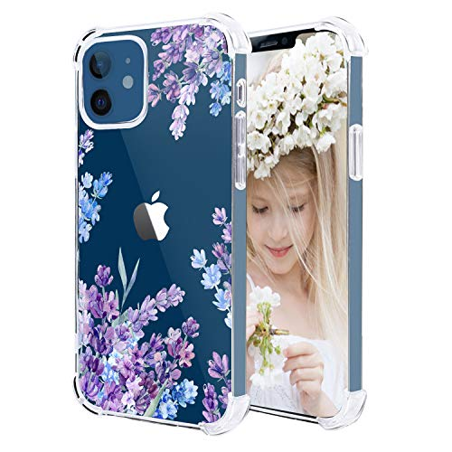 Hepix Compatible with iPhone 12 Mini Case Floral Cute Lavender Purple Flower Clear Case for Girl Women, TPU Ultra-Thin Cover Bumper Protective Anti-Scratch Camera Protection for iPhone 12 Mini 5.4'