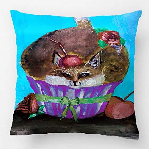 yting Taie d'oreiller décoratif Housse de Coussin canapé en Polyester Polyester siège carrée taie d'oreiller Design avec Foxy Rouge Cupcake taie d'oreiller 18\