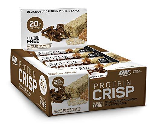 Optimum Nutrition - Protein Crisp Bar, 20g of Protein, Gluten Free, Salted Toffee Pretzel, 12 Count