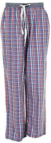 MG-1 gewebte Pyjamahose - Schlafanzug - Hose, Homewear Used Look blau rot Weiss, Grösse:Large;Farbe:Mehrfarbig