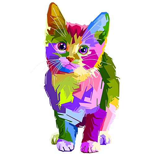 5D DIY Diamond Painting Kits for Adults Kids Colourful Cat Full Drill Embroidery Cross Stitch Crystal Diamond Paintings Pictures Arts Wall Decor Painting Dots Kits 11.8X11.8 in