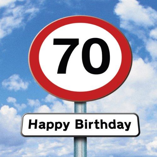 Twizler 70th Tarjeta cumpleaños–Roadsign–70años–edad